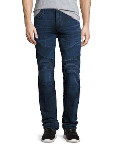 Rocco Moto Straight-Leg Denim Jeans, Indigo
