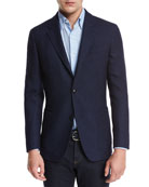 Textured Check Wool-Silk Sport Coat, Navy