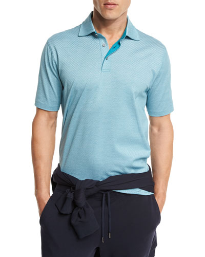 Diamond-Textured Polo Shirt, Green