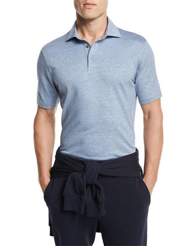 Striped Jacquard Polo Shirt, Dark Blue