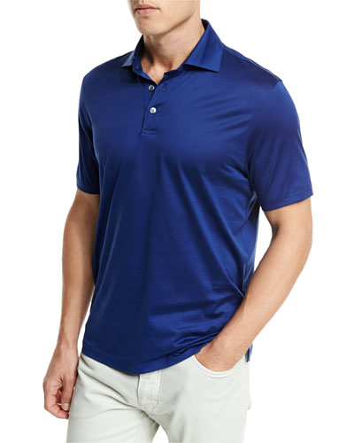 Jersey Polo Shirt, Navy Blue