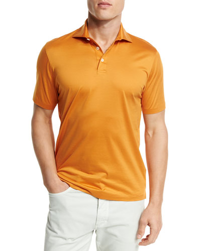 Mercerized Cotton Polo Shirt, Bright Orange