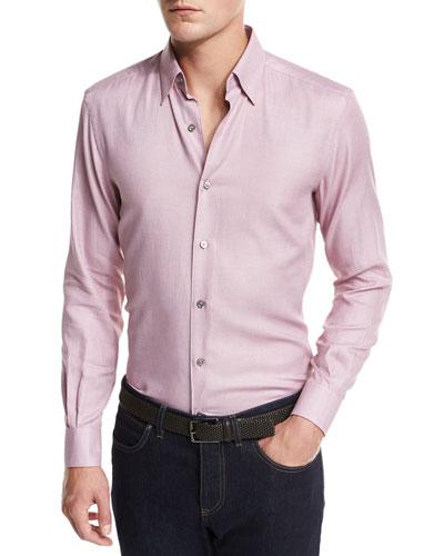 Solid Woven Sport Shirt, Dark Pink