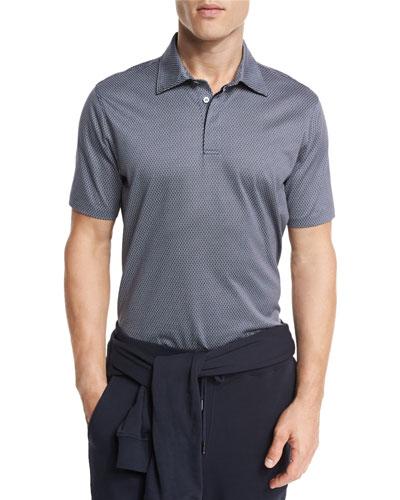 Circle-Print Polo Shirt, Navy