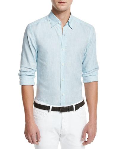 Linen Woven Sport Shirt, Aqua