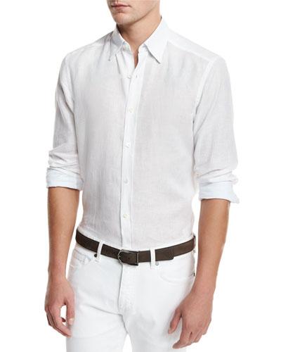 Solid Linen Sport Shirt, White