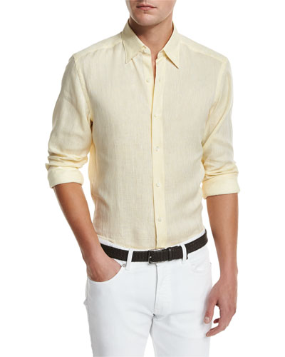 Linen Woven Sport Shirt, Light Yellow