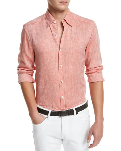 Linen Woven Sport Shirt, Orange