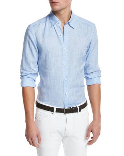 Linen Woven Sport Shirt, Soft Blue