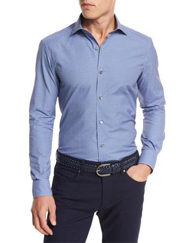 Jacquard Dot Sport Shirt, Dark Blue