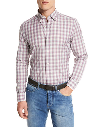 Check Cotton Sport Shirt, Red/Blue Check