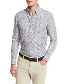 Floral-Print Sport Shirt, Medium Beige/Blue