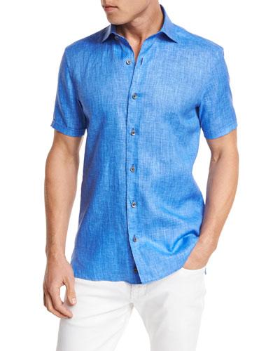 Over-Dyed Linen Short-Sleeve Sport Shirt, Blue