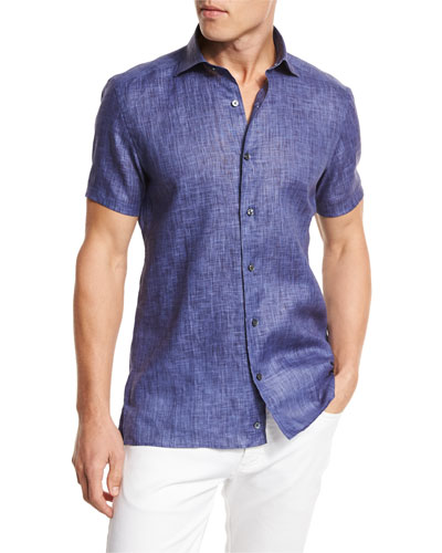 Over-Dyed Linen Short-Sleeve Sport Shirt, Navy