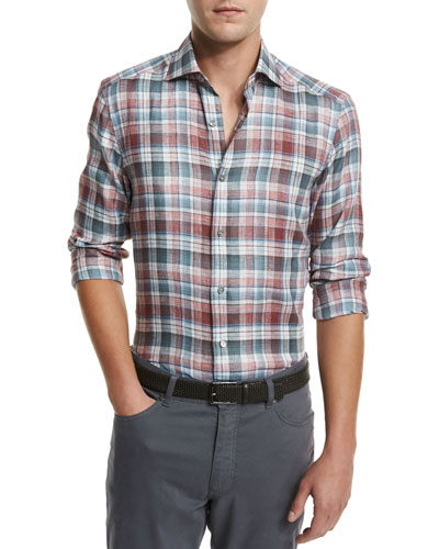 Plaid Linen Sport Shirt, Medium Red Check