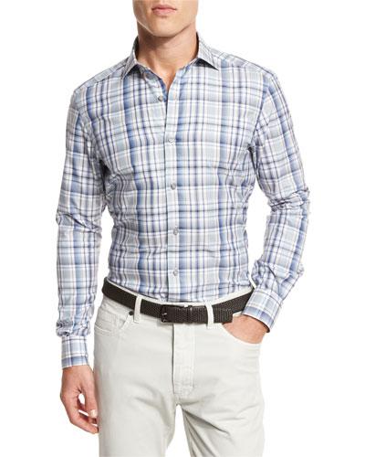 Large Check Sport Shirt, Dark Blue Check