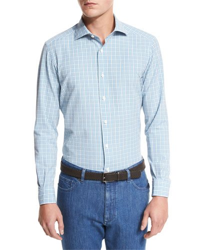 Plaid Seersucker Sport Shirt, Bright Blue Check