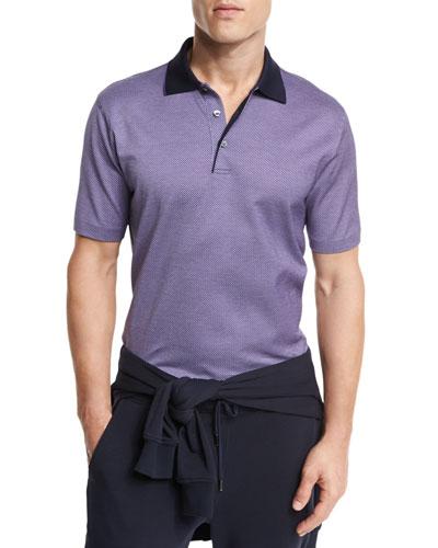 Micro-Birdseye Polo Shirt, Purple