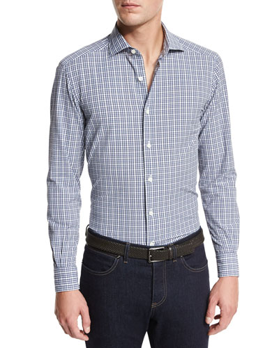 Seersucker Check Sport Shirt, Navy