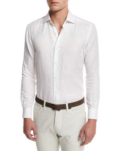 Tonal Paisley Linen-Cotton Shirt, White