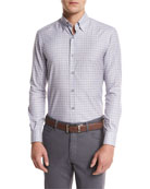 Check Woven Sport Shirt, Light Purple Check