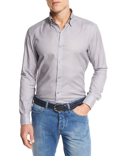 Fan-Print Sport Shirt, Medium Gray Fan