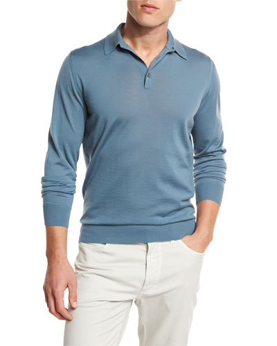 High-Performance Merino Polo Sweater, Blue