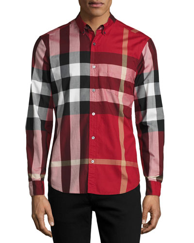 Fred Check Woven Sport Shirt, Parade Red