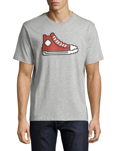 8-Bit Sneaker Graphic T-Shirt, Gray