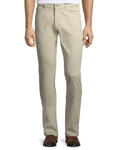 Five-Pocket Brushed Cotton Pants, Plaster (Khaki)