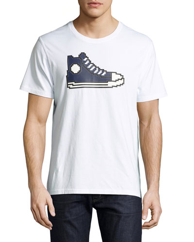 8-Bit Sneaker Graphic T-Shirt, White/Navy