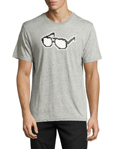 8-Bit Glasses Graphic T-Shirt, Melange Heather Gray