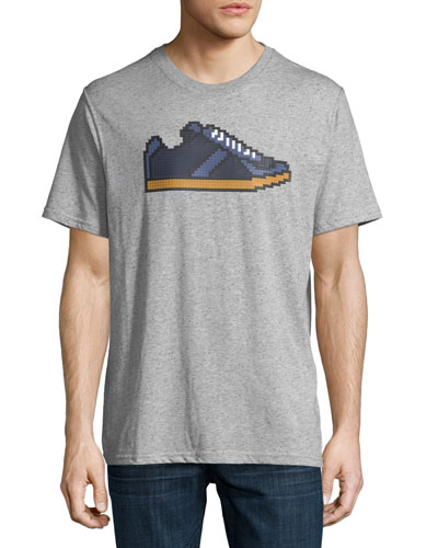 8-Bit Sneaker Graphic T-Shirt, Melange Heather Gray
