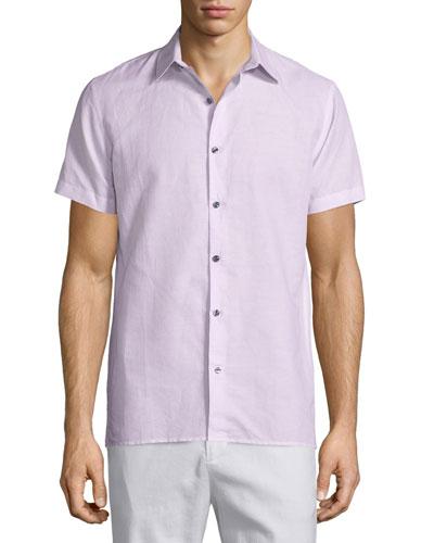 Linen-Blend Short-Sleeve Shirt, Sky Blue