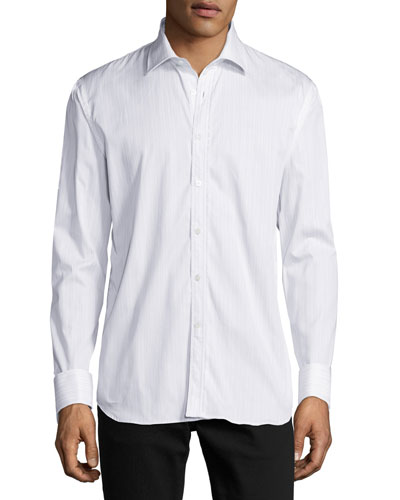 Striped Button-Front Shirt w/Lace Trim, Light Blue