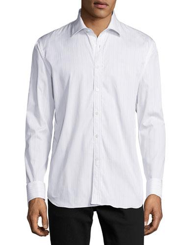 Striped Button-Front Shirt w/Lace Trim, Light Blue