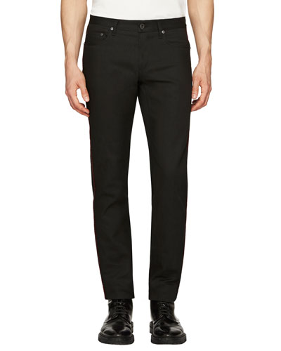 Regimental Skinny Jeans w/Contrast Piping, Black