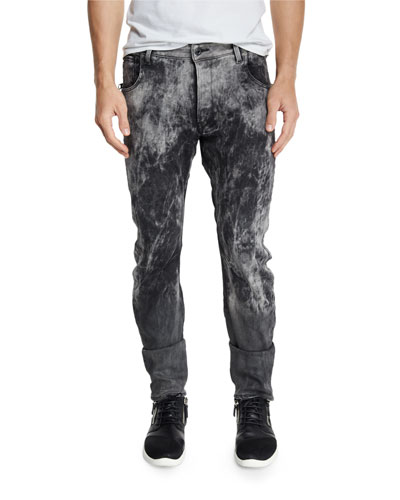 Arc 3D Bleach-Effect Slim-Fit Stretch-Denim Jeans, Black