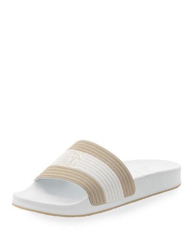 Fabric Slide Sandal w/Solomeo Crest, White