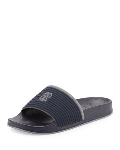 Fabric Slide Sandal w/Solomeo Crest, Blue