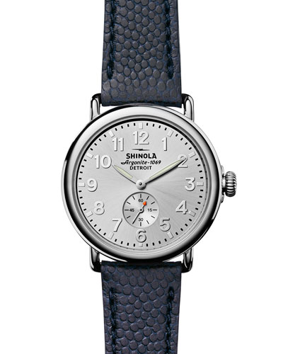 Men's 41mm Runwell Men's Textured Leather Watch, Silver/Navy