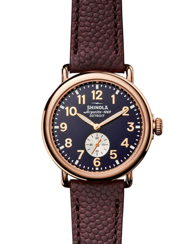 Men's 41mm Runwell Men's Textured Leather Watch, Rose Golden/Oxblood