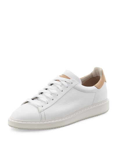 Men's Leather Sneaker, White