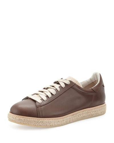 Men's Leather Sneaker Espadrille, Brown