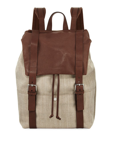Men's Canvas & Leather Backpack, Beige