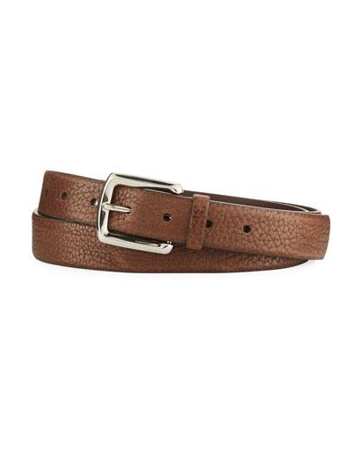 Aged Grain Calf Leather Belt