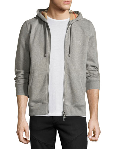 Claredon Jersey Hoodie w/Check Lining, Pale Gray