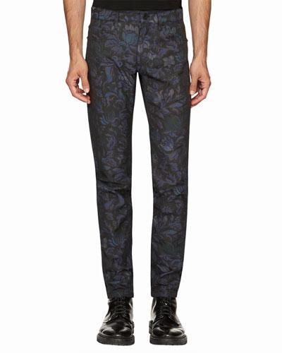 Floral-Jacquard Skinny Jeans, Navy