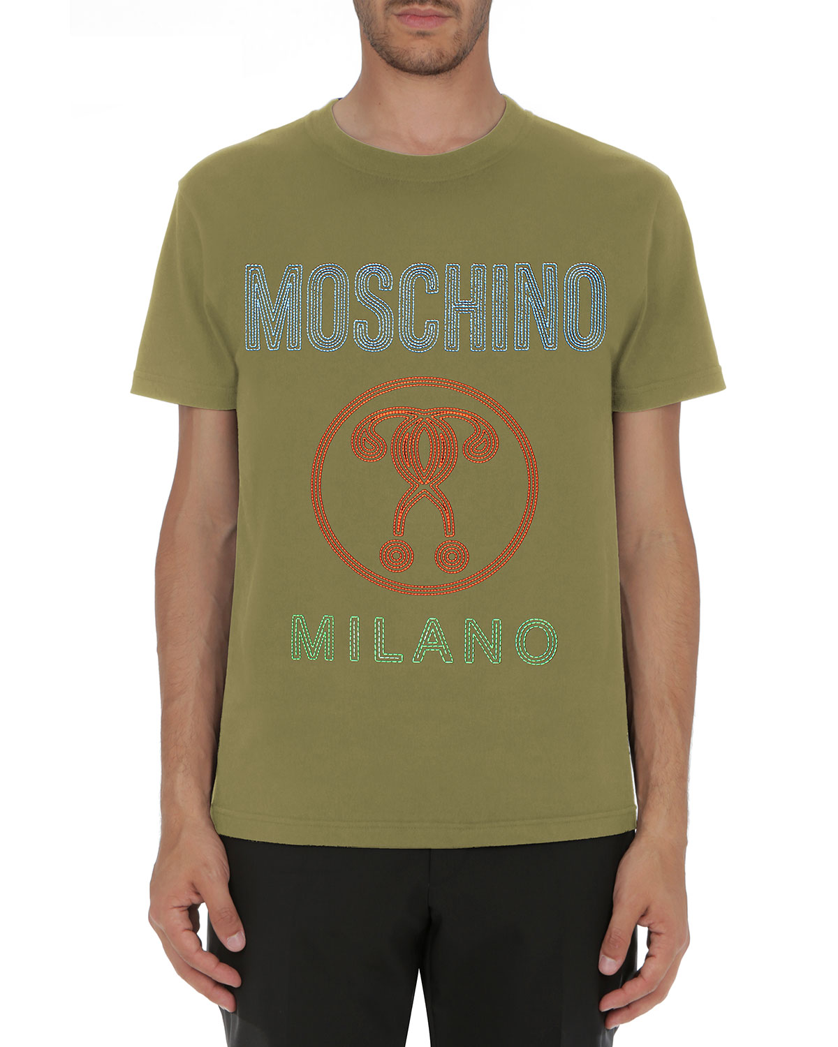 Double Question Mark Logo T-Shirt, Olive