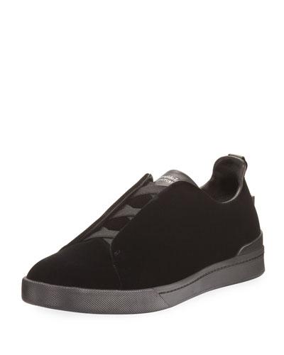 Couture Triple-Strap Velvet Low-Top Sneaker, Black